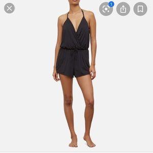 Black Romper One piece Swimsuit with Halter tie